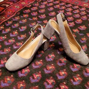 Dark gray Nareen block heel sling backs